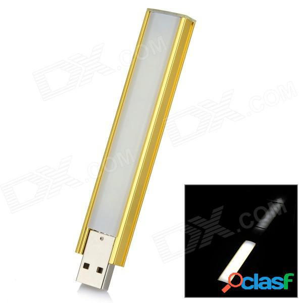 Interruptor táctil blanco l-05 2.5w 100lm 6000k 8-led + lámpara nocturna usb de atenuación - amarillo dorado + plata