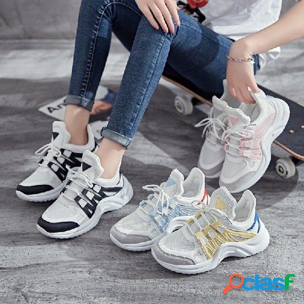 Malla transpirable mujeres zapatos casuales zapatillas de deporte de moda con cordones de alto calzado de ocio