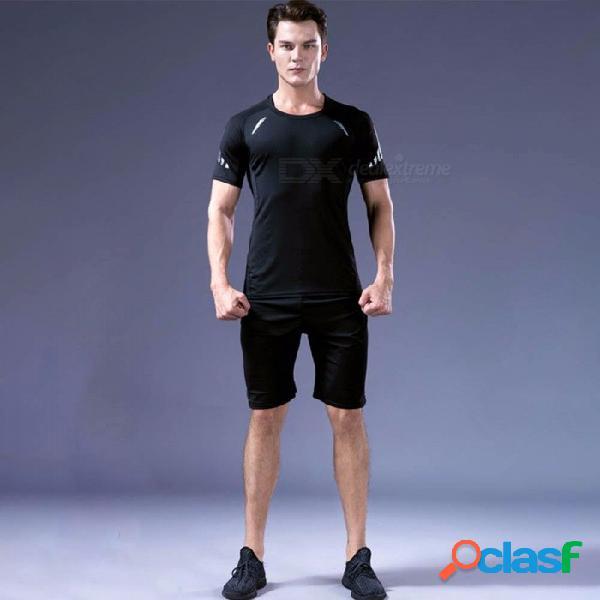 Secado rápido transpirable flaco camisas de manga corta pantalones de los hombres deportes de alta elasticidad ropa de fitness 3 unids / set negro / m