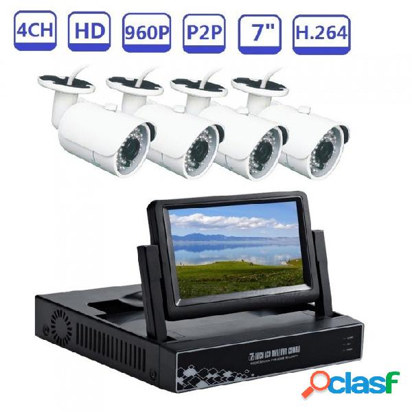 """Sistemas de cámaras de seguridad strongshine monitor 4ch 7"""" nvr kit cámaras cctv 960p para videovigilancia doméstica día y noche - enchufe de la ue"""