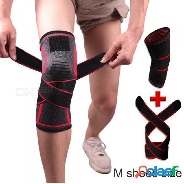 1 par de punto al aire libre correas de compresión rodillera apoyo corsé para correr deportes conjunta dolor alivio protector rojo