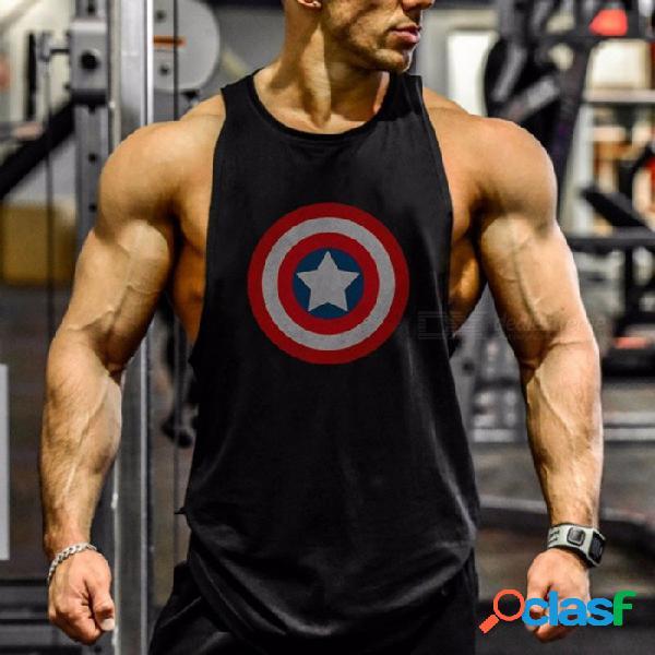 Capitán américa patrón de impresión de chaleco en forma de i, algodón ejercicio entrenamiento deportes camisetas sin mangas chaleco para hombres negro / m