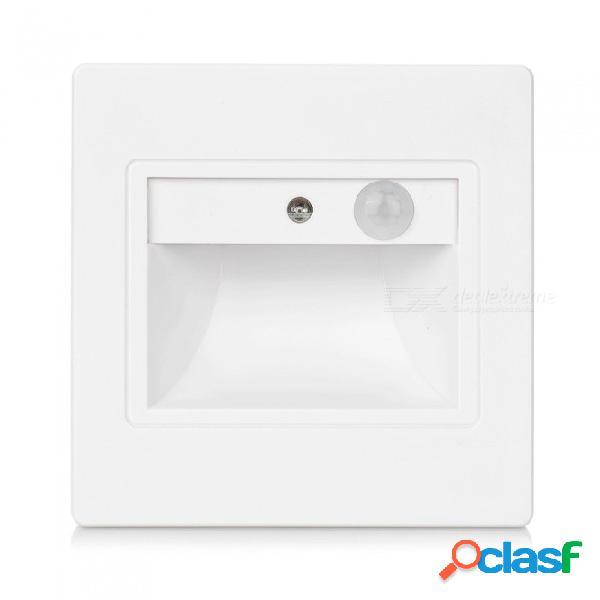Elegante detector de movimiento pir + sensor de luz led luz de escalera ir lámpara de inducción del cuerpo humano infrarrojo pasos empotrados escalera lámpara de pared blanco cálido (2700-350