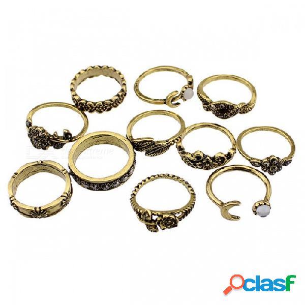 Estilo vintage 11pcs diamantes de imitación decorados con tótem de hoja rosa conjunto de anillos tallados