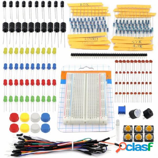 Kit de inicio kit de bricolaje portátil set de resistencia led condensador jumper cables breadboard resistencia kit con caja al por menor para arduino colorfu