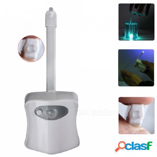 Luz nocturna de baño en 8 colores, sensor de movimiento de cuerpo de led activado sensor de asiento - blanco