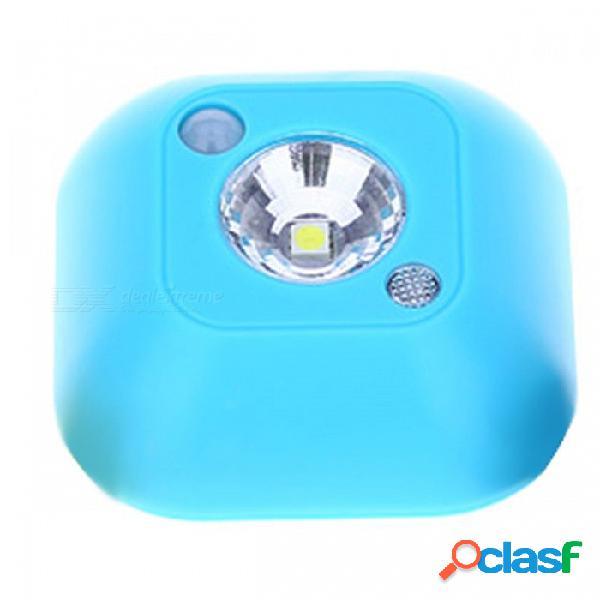 Mini luz de noche infrarroja del techo del sensor de movimiento infrarrojo inalámbrico, lámpara del gabinete del porche con pilas - agua azul