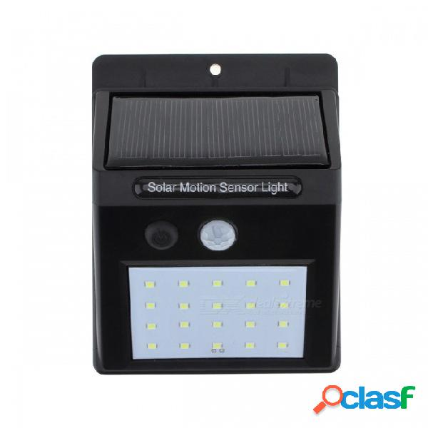 80lm 20-led ip65 a prueba de agua de energía solar sensor de movimiento pir navidad luz de la pared para patio exterior camino-negro (4 pcs)