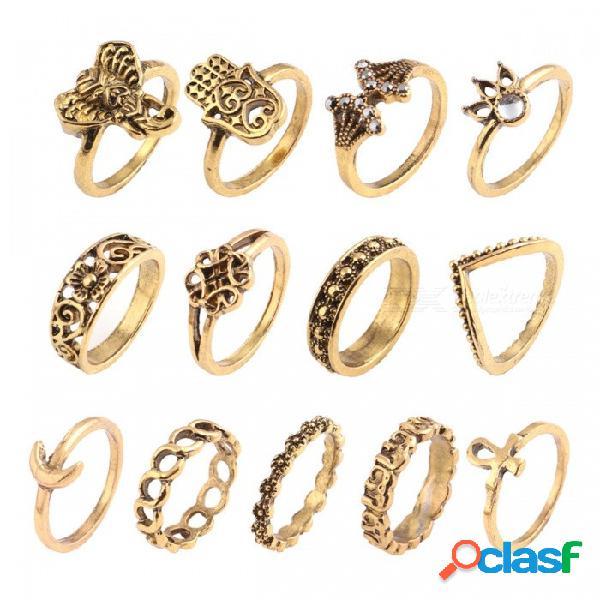 Estilo vintage 13 unids rhinestones decorados corona luna elefante manos talladas conjunto de anillos