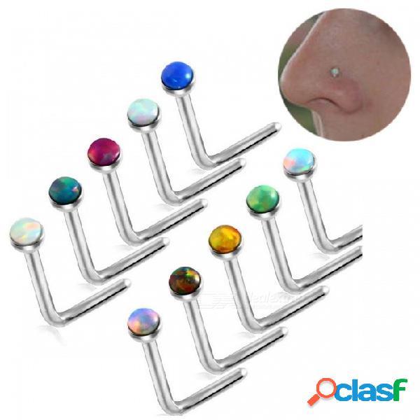 Perla de piedra de ópalo caliente perforación piercing de acero en forma de l hueso de la nariz del ópalo joyería del cuerpo mezclado 10 colores aleatorios múltiples