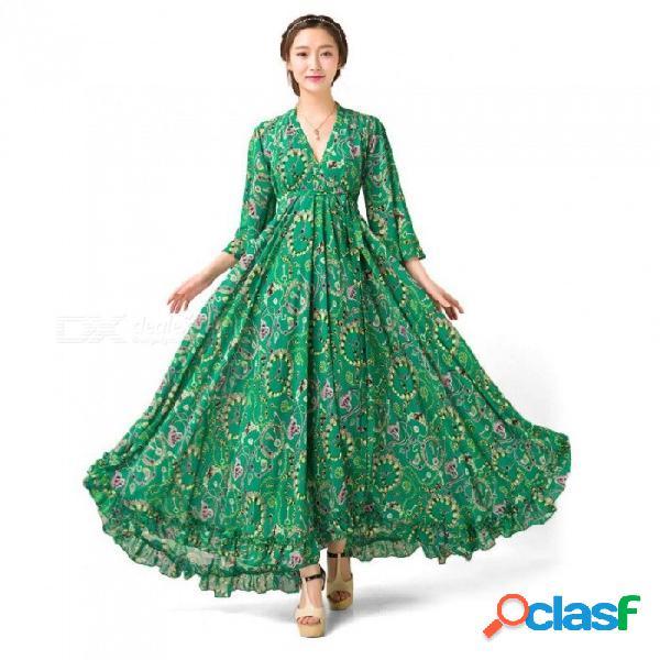 Primavera otoño vestido bohemio nuevo tres cuartos manga flare estampado floral gasa con cuello en v maxi vestidos para las mujeres verdes / s