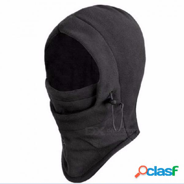 Sombrero de balaclava de vellón termal de los hombres polar con capucha calentador de cuello deportes de invierno mascarilla de esquí casco de moto gorros de moto enmascarado gorra negro