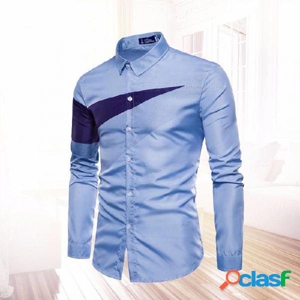 2018 nueva camisa casual de los hombres de manga larga del verano, camisa de impresión del triángulo, top de la ropa de la aptitud de los hombres sky blue / s