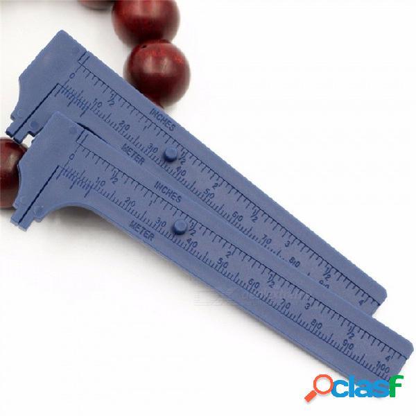 Azul 80 mm mini plástico deslizante vernier calibre calibre herramienta herramienta regla calibres azul