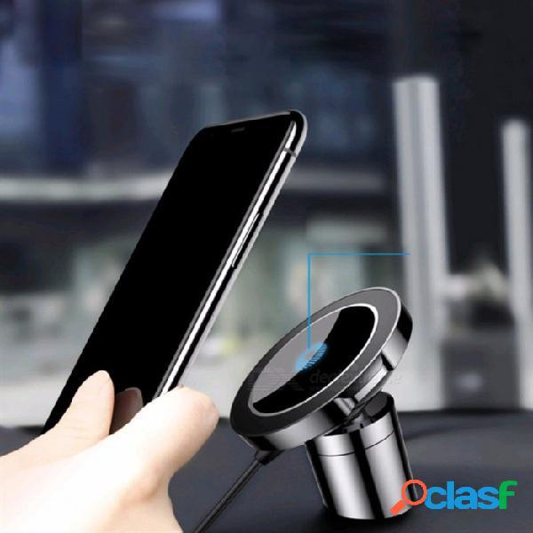 Baseus big ear qi cargador inalámbrico magnético soporte de montaje de coche abrazadera pegar soporte para iphone x 8 samsung nota 8 s8 s7 negro
