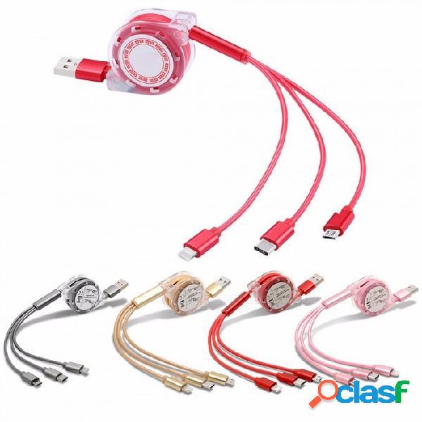 Cable de datos rápido multifuncional, cable de carga escalable, un cable de carga tres micro usb / 8p / android type-c arrastre rojo / 1m