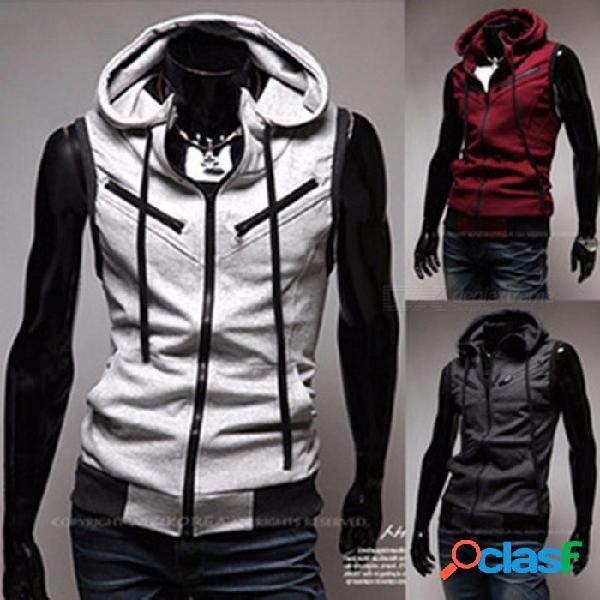 Chaleco con capucha de los hombres, 2018 moda masculina chaqueta sin mangas, chaleco de bolsillo con cremallera, chaleco de los hombres de algodón casual - gris