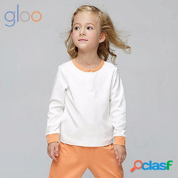 G100 algodón de fibra casual de algodón costura de la camiseta de color, camiseta unisex de manga larga cuello redondo tops para niños niños cielo azul / 2t