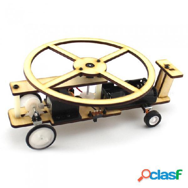 Juguetes educativos hechos a mano de aviones de deslizamiento diy hechos a mano (2 pilas aa, no equipadas) - color madera