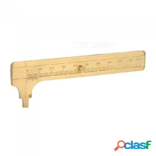 Medida herramienta de medición bolsillo 100 mm mini sólido latón corredera medidor escala única vernier caliper herramienta portátil oro