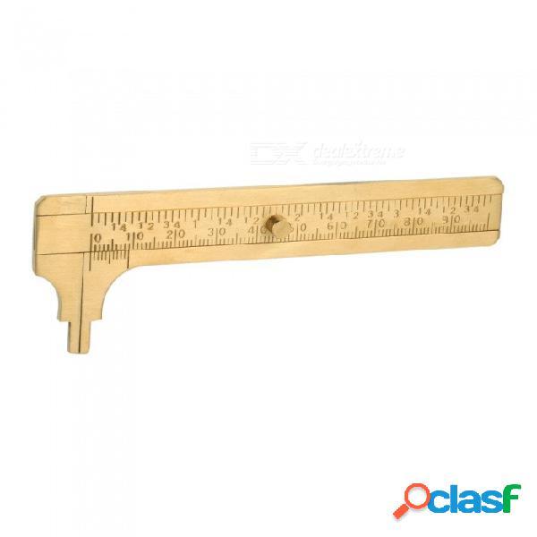 Medida herramienta de medición bolsillo 100mm mini calibre deslizante de latón sólido escala doble vernier calibrador herramienta portátil oro