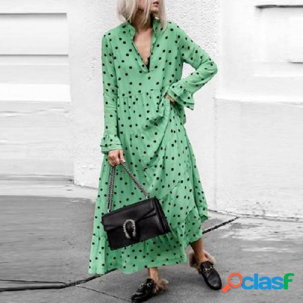 Otoño vestido largo maxi manga de mariposa profunda v soporte cuello punto una línea de vestidos sueltos para mujeres verde / s