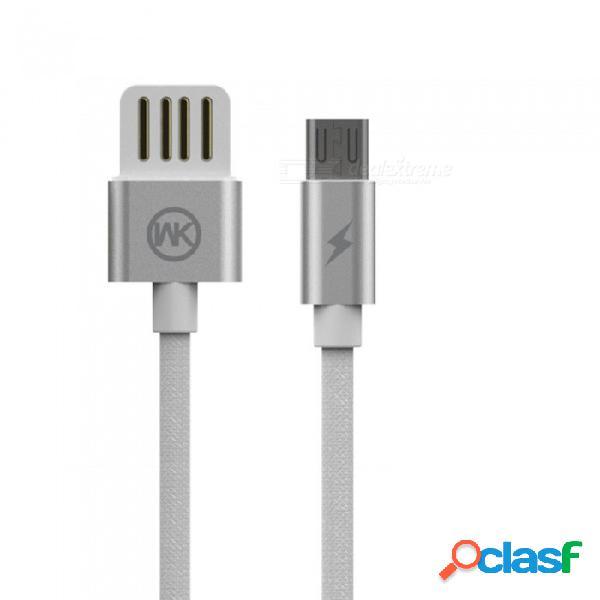 Wk diseño de doble cara usb para cable de datos de carga tipo type-c / micro usb / lightning para teléfonos móviles blanco / micro usb