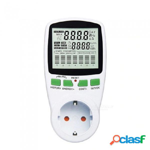 Ac power meter, 220v digital wattmeter eu energy meter, watt monitor electricity cost diagram measuring socket analyzer white