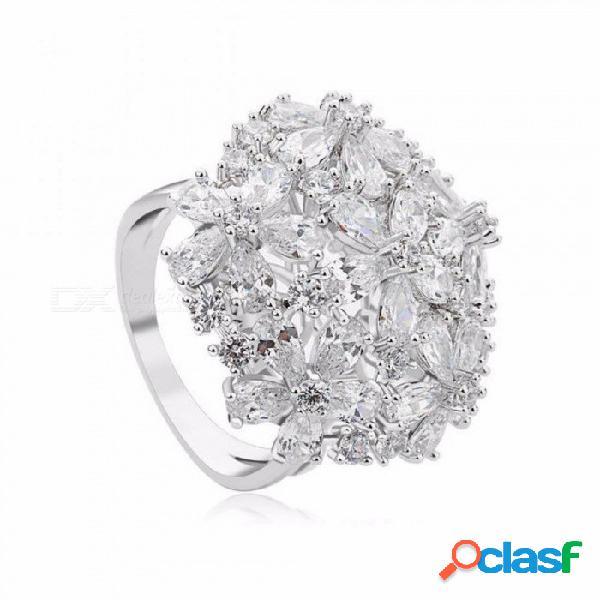 Clara zirconia cúbica elegante bowknot anillos de boda para mujeres anillos de novia compromiso nupcial envío gratis oro blanco / 8.25
