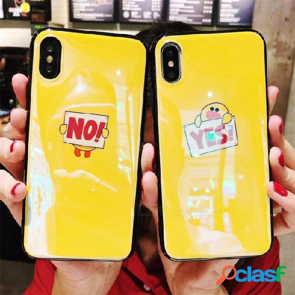Cubierta de la caja de tpu de impresión de dibujos animados de verano para iphone x, carcasa de la caja del teléfono celular a prueba de golpes amarillo claro / tpu