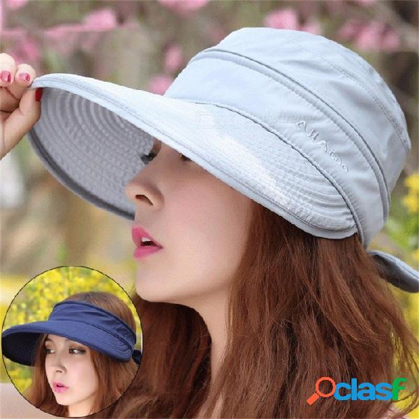 Doble uso para mujer del verano sombrero a prueba de sol con cremallera extraíble tapa vacía gorra de ala ancha para viajes escalada