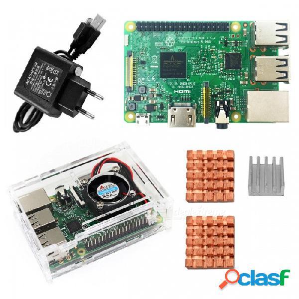 Kit básico de raspberry pi 3 modelo b, placa pi 3 + funda pi 3 + enchufe de la ue + disipador pi 3 b