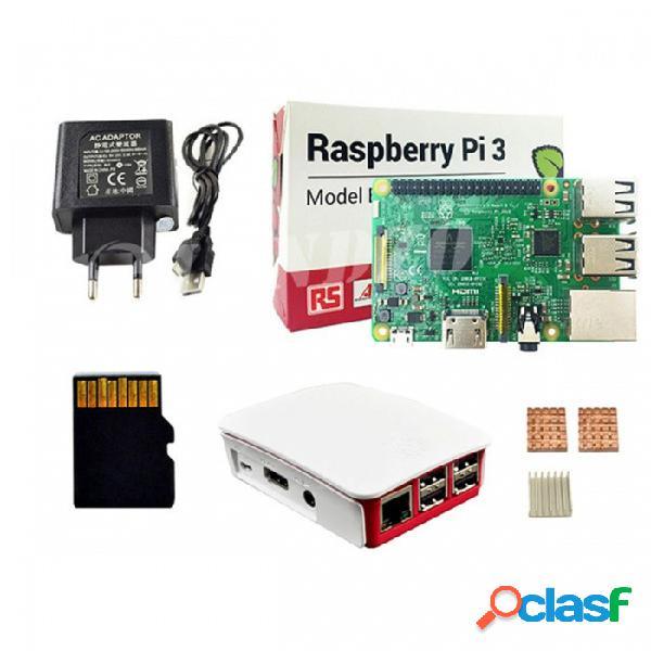Kit básico de raspberry pi 3 modelo b, tablero de pi 3 / caja de pi 3 / fuente de alimentación de la ue / tarjeta de memoria de 16 gb / disipador de calor