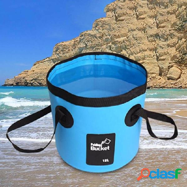 New portable 12l fishing bucket portable folding bag with storage outdoor car washing fishing tools sky blue