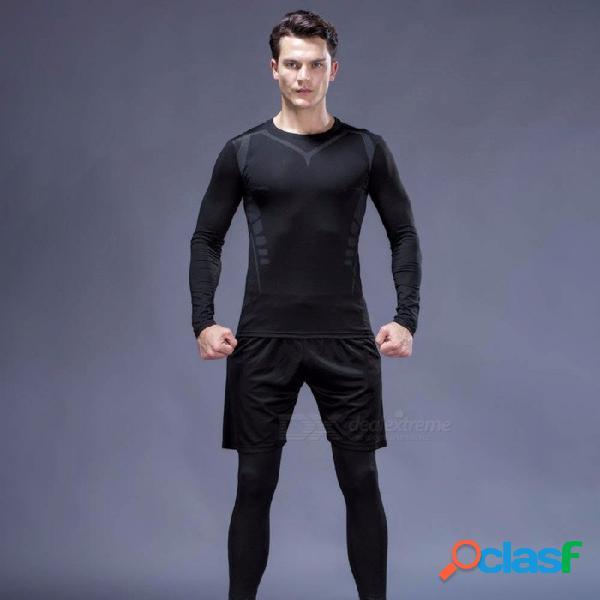 Secado rápido transpirable flaco de manga larga camisetas pantalones deportivos de los hombres de alta elasticidad ropa de fitness 3 unids / set negro / m