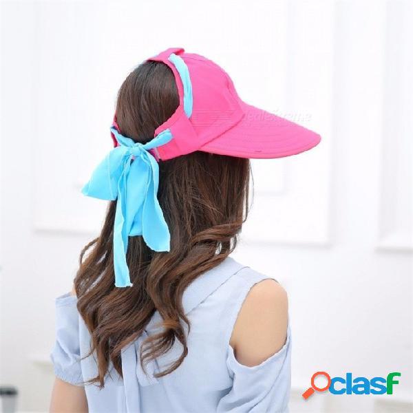 Verano womens correa sombrero para el sol, protección uv ocasional al aire libre viajes playa sombrero de ala ancha de nuevo tapa vacía negro