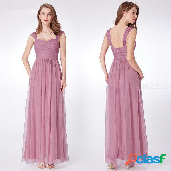 Vestido de noche sólido clásico vestido maxi drapeado de gasa para la fiesta de cumpleaños de la boda