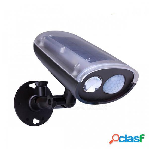 Luz de calle solar del panel led de 3w 250lm, luz del sensor de movimiento de pir, lámpara de emergencia de jardín al aire libre - negro