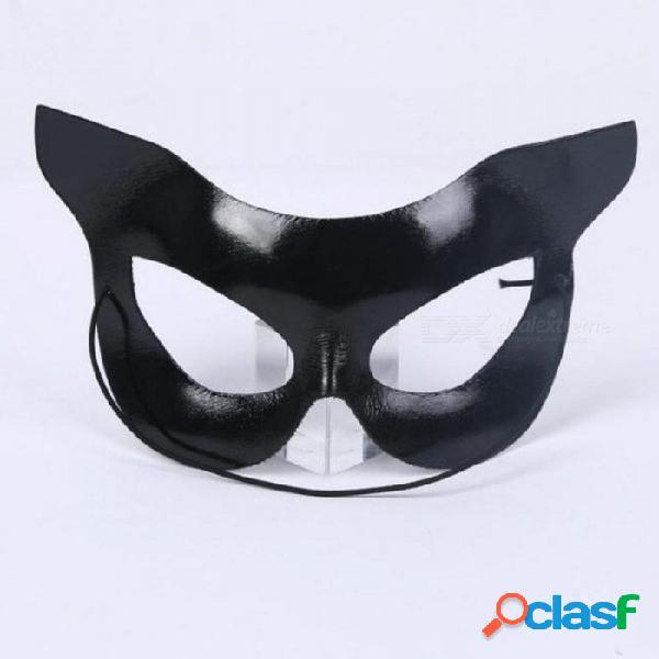 Máscara de gato negro mujeres niñas mascarada media cara mascarillas oculares gafas de halloween hasta decoración artículos de fiesta negro