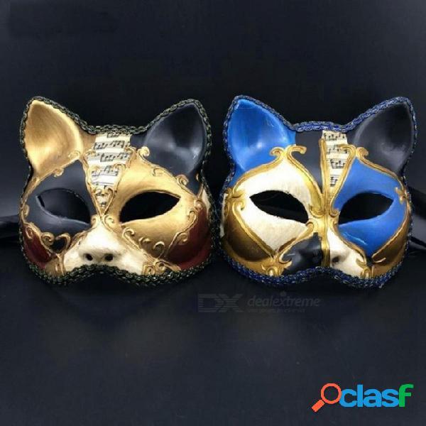 Máscara retro hecha a mano del estilo veneciano de italia mascarada hecha a mano cosplay gato media cara bola de baile muestra máscara de fiesta para hombres mujeres oro negro