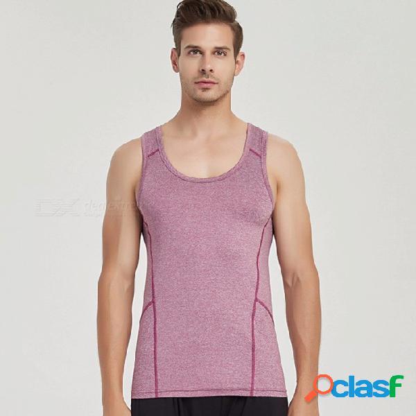 Estilo de verano hombre chaleco de secado rápido entrenamiento delgado apretado gimnasio sin mangas de yoga sin mangas de cuello redondo deporte fitness tops negro / m