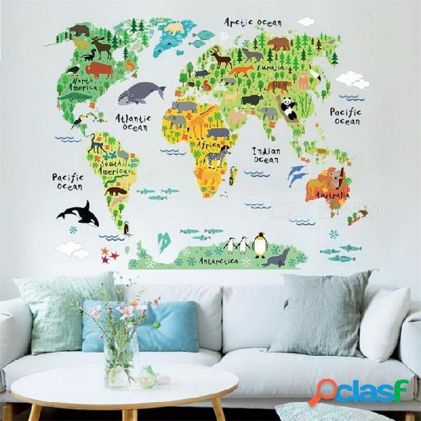 Mapa del mundo animal pegatinas de pared para habitaciones de niños, sala de estar decoraciones para el hogar calcomanía mural arte diy oficina arte de la pared