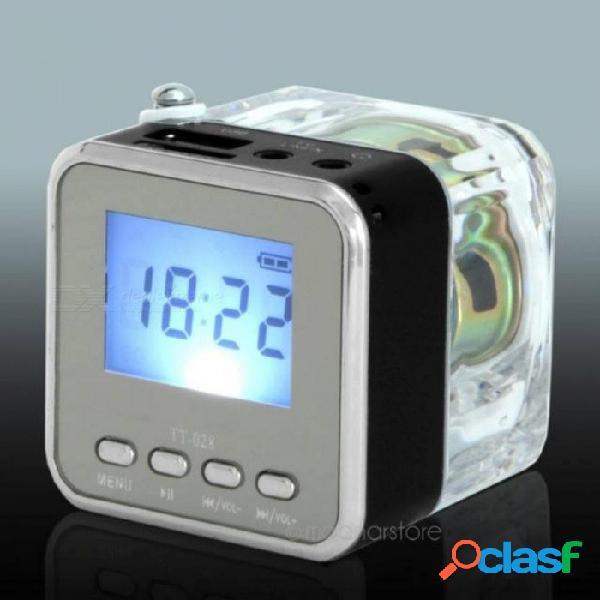 Mini nizhi tt-028 pantalla de altavoz led usb 2.0 fm sd para iphone ipad ipod pc con multi color opcional negro