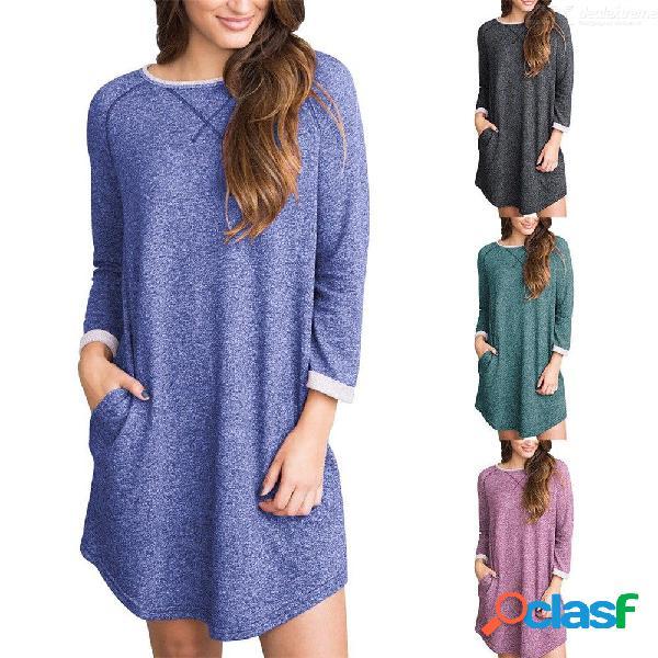Vestidos de manga larga de europa y américa o-cuello mini color casual vestidos casuales para mujeres