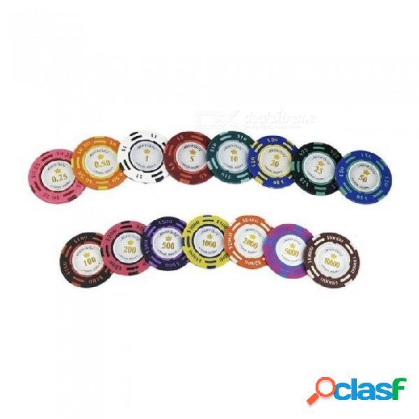 20 unids / lote fichas de póquer 14g dólar de ee. uu. moneda pegajosa de arcilla baccarat mahjong texas hold'em poker conjunto de chips de juego color corona total 20