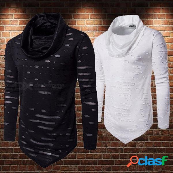 Camisetas de los hombres nuevo cuello de la pila de algodón montón simple y cómodo agujero de manga larga triángulo prenda camiseta para hombres negro / s