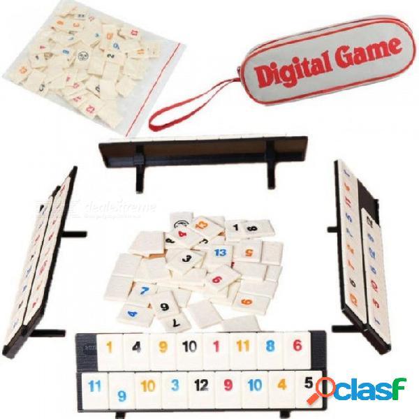 Juego de mesa digital portátil israel mahjong rummikub 106 azulejos viaje familiar para el conjunto con juegos de mesa de color blanco