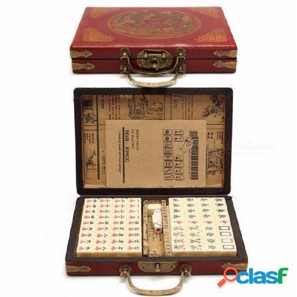 Juegos de cartas 144 baldosas mah-jong conjunto multicolor vintage mahjong juguete chino raro con caja de bambú regalos de fiesta juegos de mesa