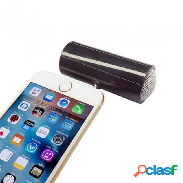 Mini altavoz cilíndrico de 3.5mm jack altavoz del teléfono móvil para el iphone samsung teléfonos huawei ipad tablet negro