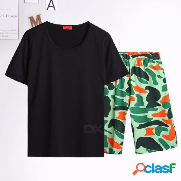 Pantalones de pijama de los hombres pantalones cortos de algodón impreso pantalones desgaste exterior hombres pantalón de dormir pantalones cortos pijamas negro / m